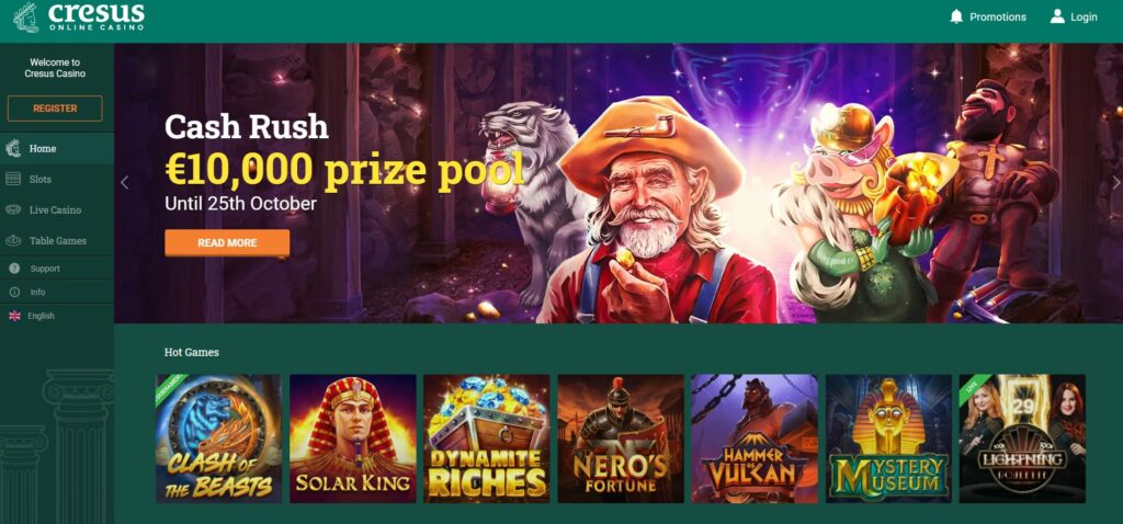 Cresus Casino website